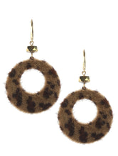 Load image into Gallery viewer, Earring Leopard Animal Print Faux Fur Ring Brown