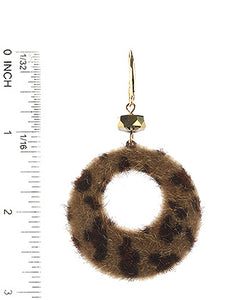 Earring Leopard Animal Print Faux Fur Ring Brown