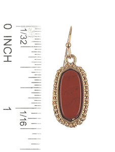 Earring Hexagonal Oval Natural Stone Finish Red