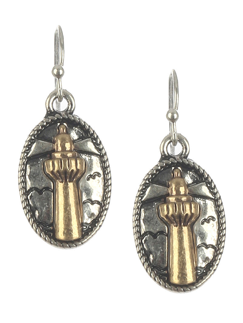 Earring Matte Finish Metal Lighthouse Gold