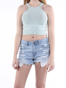 Apparel Double Strap Woven Crop Tank