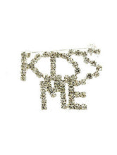 Load image into Gallery viewer, Pin And Brooch Kiss Me Paved Crystal Stone Clear