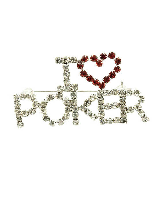 Pin And Brooch I Heart Poker Paved Crystal Stone Clear