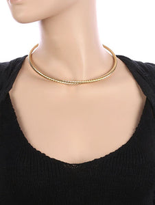 Necklace Twisted Metal Cuff Choker Gold