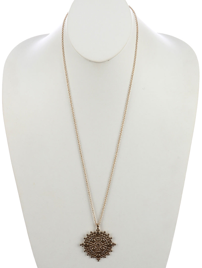 Necklace Textured Medallion Pendant Long Chain Gold