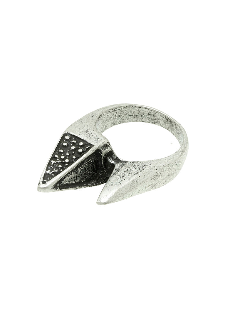 Ring Aged Finish Metal Double Spike Silver