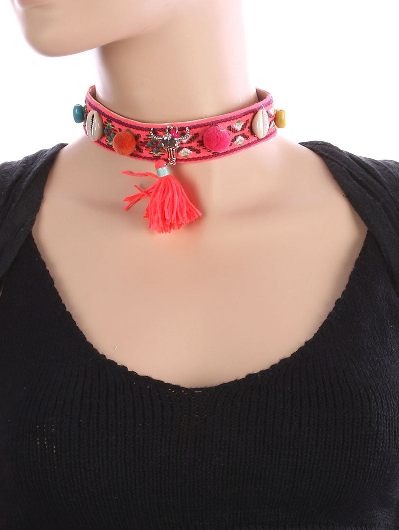 Necklace Tribal Pattern Embroidererd Fabric Choker Multi-color