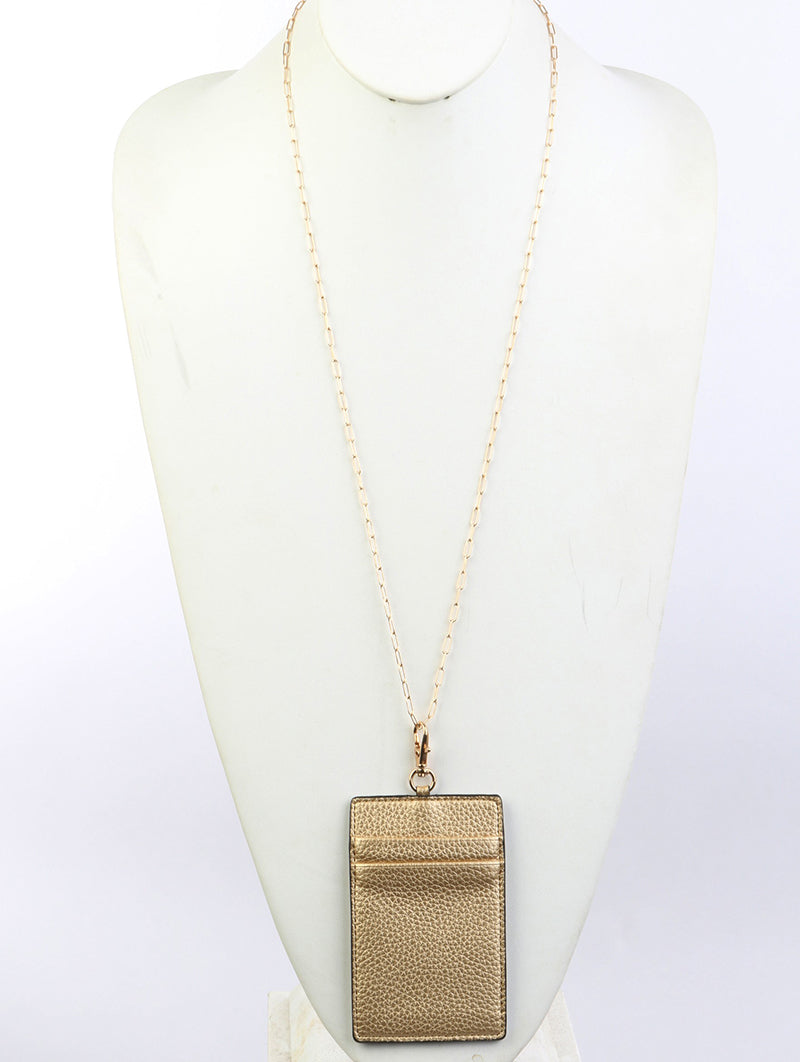 Necklace Leather Link Idcard Gold