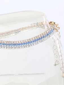 Anklet 2mm Rhinestone 3 Pcs Set Blue