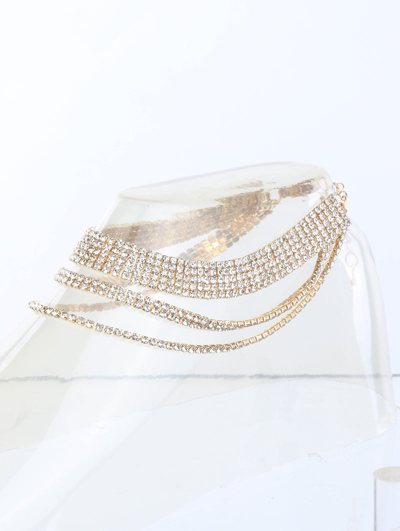 Anklet 2mm Rhinestone 3 Row Clear
