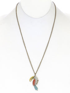 Necklace Tucan Charms Link Multi-color