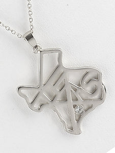Necklace State Of Texas Cutout Metal Pendant Silver
