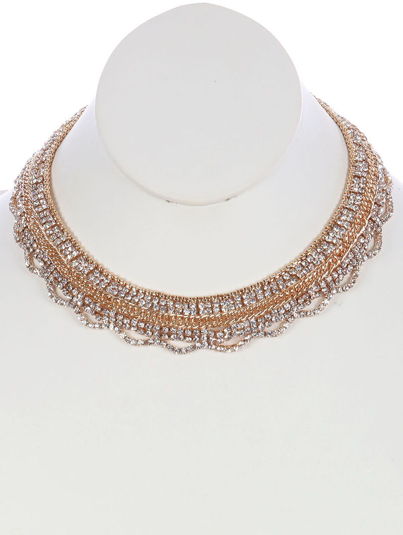 Necklace Layered Chain Rhinestone Choker Clear