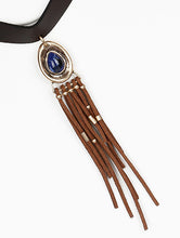 Load image into Gallery viewer, Necklace Suede Fringe Faux Leather Choker Turquoise
