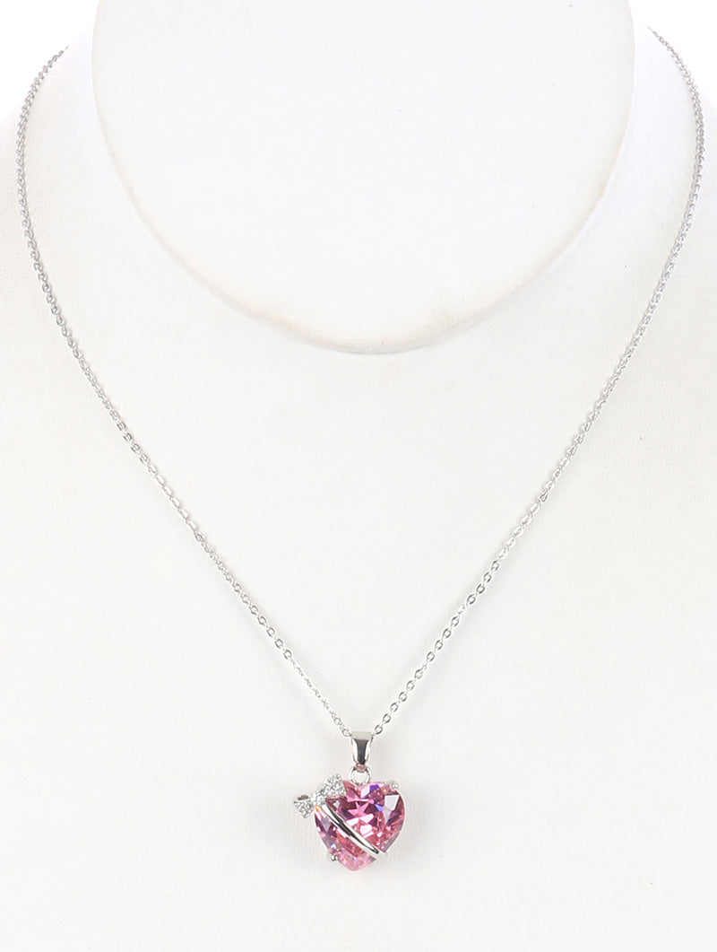Necklace Heart Shape Glass Stone Charm Pink