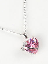 Load image into Gallery viewer, Necklace Heart Shape Glass Stone Charm Pink