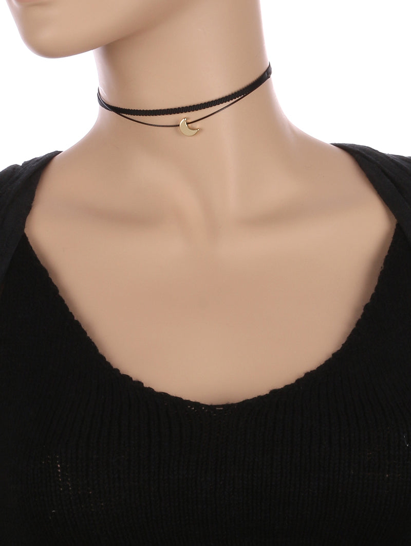 Necklace Metal Crescent Charm Double Strand Choker Black