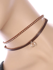 Necklace Metal Ring Charm 2 Pc Choker Brown