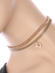 Necklace Metal Ring Charm 2 Pc Choker
