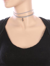 Load image into Gallery viewer, Necklace Metal Arrowhead Charm 2 Pc Choker Gray