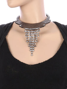 Necklace Layered Flat Chain Crystal Stone Fringe Choker Clear