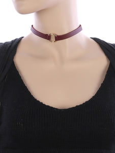 Necklace Metal Ring Charm Faux Leather Choker