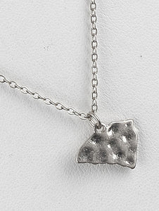 Necklace Hammered Metal State Of South Carolina Silver
