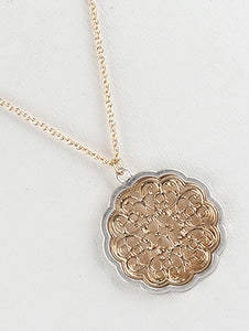 Necklace Filigree Style Pendant Chain Silver