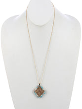 Load image into Gallery viewer, Necklace Rhombus Marble Finish Lucite Stone Pendant