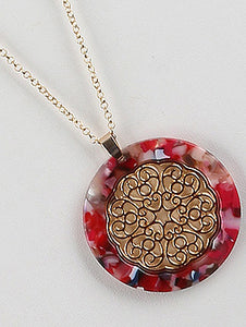 Necklace Round Marble Finish Lucite Stone Pendant Red