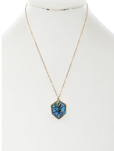 Necklace Faceted Lucite Stone Pendant Multi-color