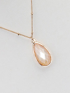 Necklace Faceted Translucent Stone Teardrop Charm