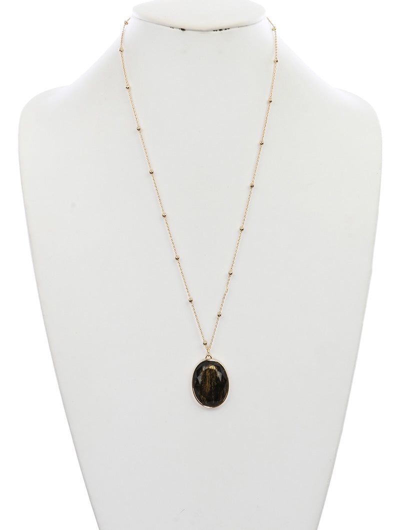 Necklace Faceted Translucent Stone Oval Charm Black