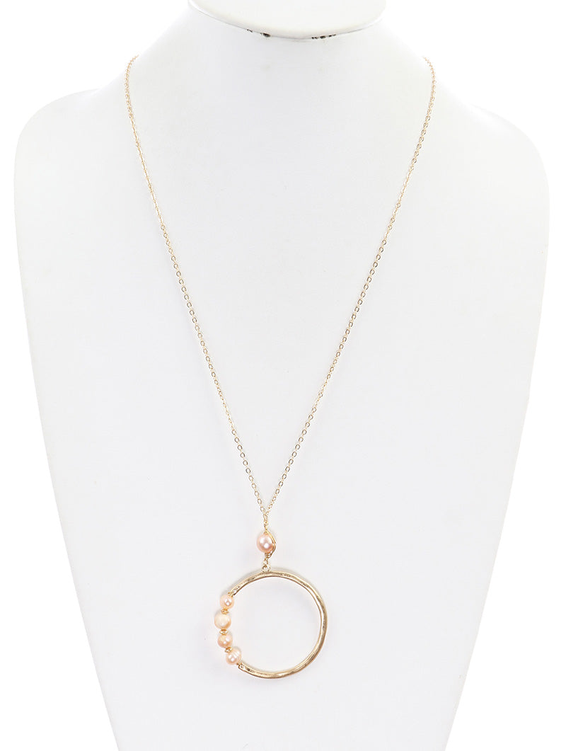 Necklace 50mm Round Fresh Water Pearl Stone Pink
