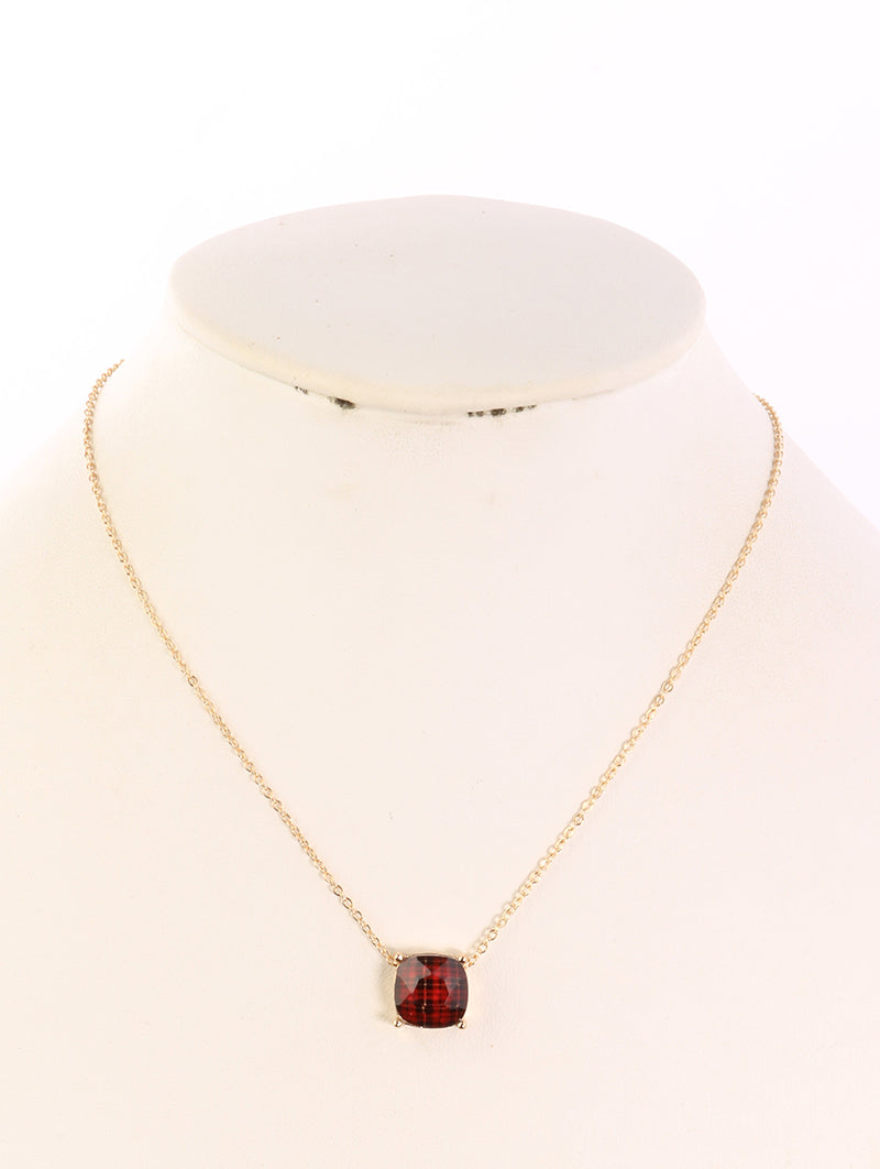 Necklace Plaid Pattern Sqaure 1red