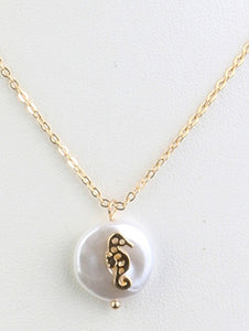 Necklace Pearl Pendant Seahorse