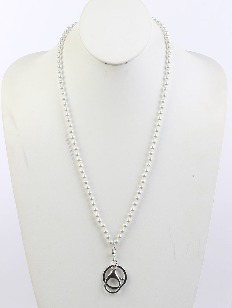 Necklace Id Holder Pearl White