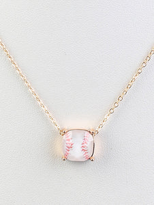 Necklace Baseball Diamond Cut White