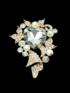 Pin And Brooch Crystal Stone Heart Aurora Boreale
