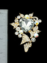 Load image into Gallery viewer, Pin And Brooch Crystal Stone Heart Aurora Boreale