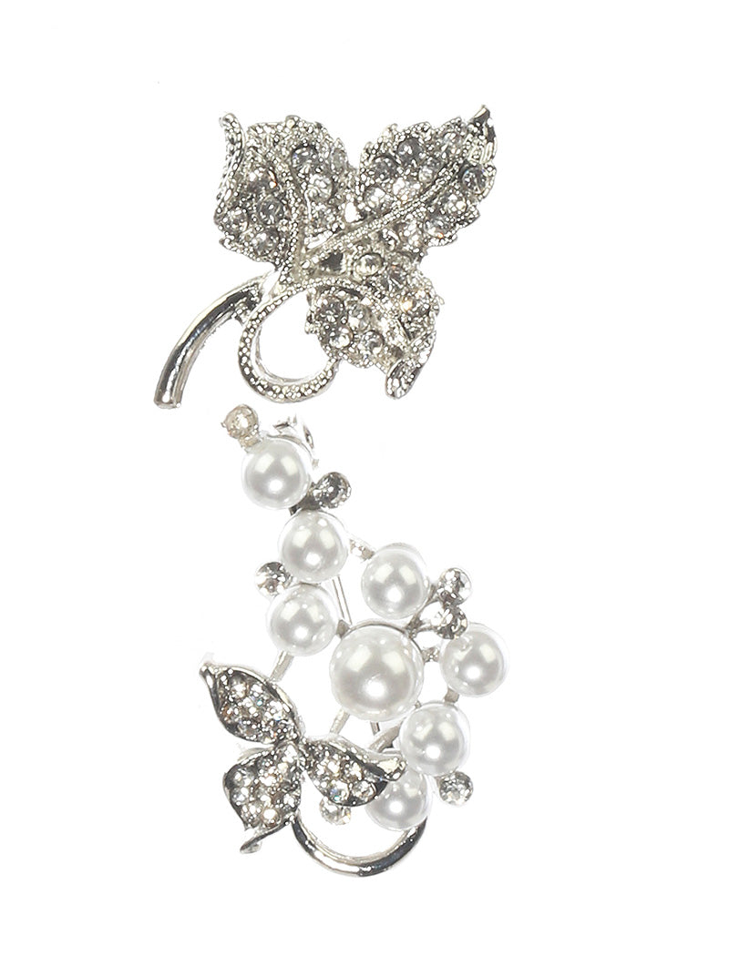 Pin And Brooch 2 Pc Pearl Pave Crystal Stone White