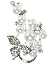 Load image into Gallery viewer, Pin And Brooch 2 Pc Pearl Pave Crystal Stone White