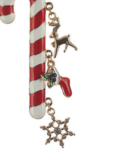 Pin And Brooch Epoxy Coated Metal Candy Cane Multi-color