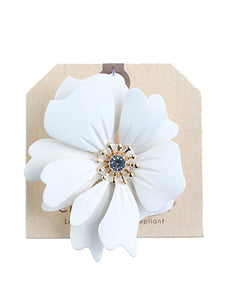 Pin And Brooch Statement Ribbon Flower Metal Casting White