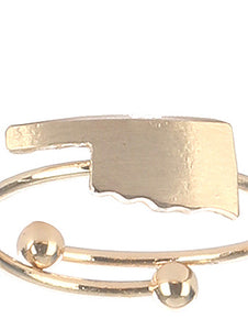 Ring State Of Oklahoma Cuff Gold