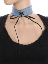 Load image into Gallery viewer, Necklace Faux Leather Laced Center Denim Fabric Choker Blue