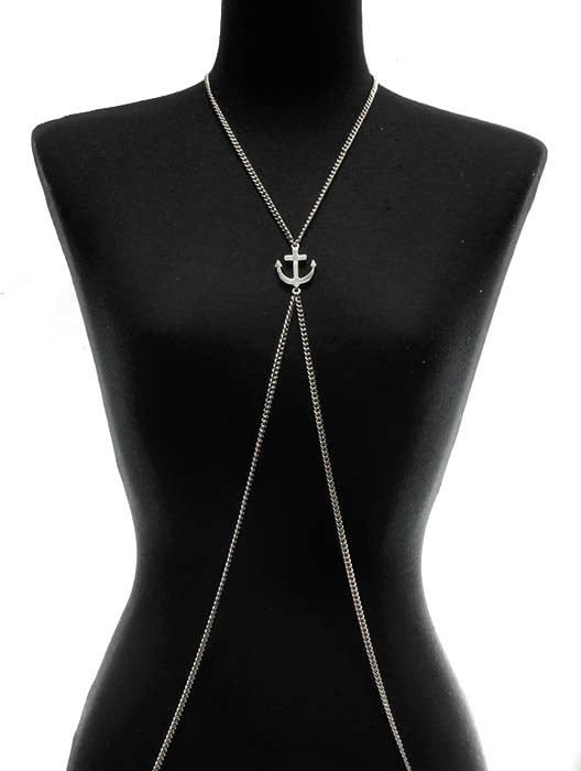 Necklace Body Chain Anchor Silver