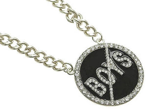 Necklace Link Metal Chain Black