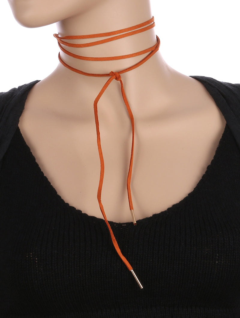 Necklace Faux Suede Wraparound Choker