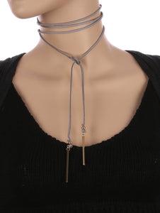 Necklace Faux Suede Wraparound Choker Gray